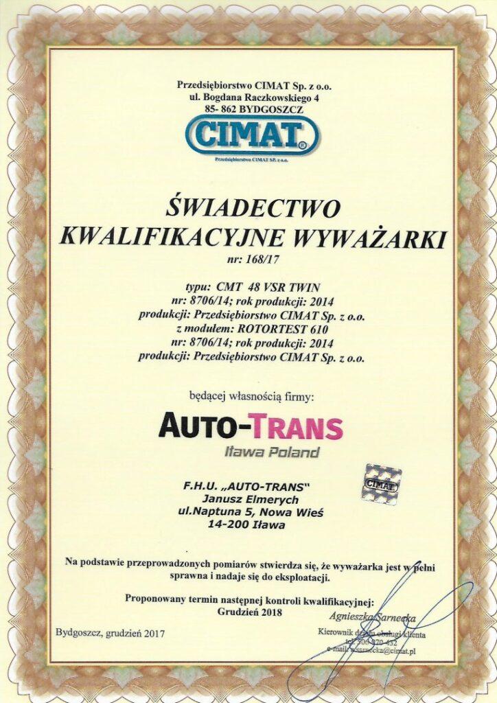 Certyfikat Cimat 2018