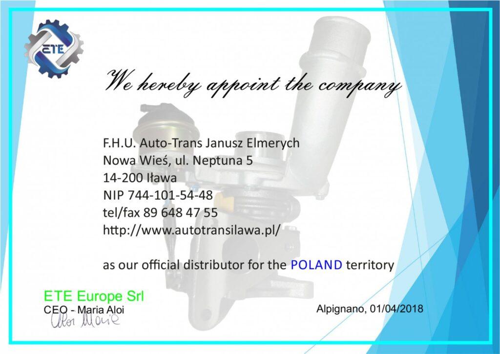 Certyfikat ETE Europe Srl