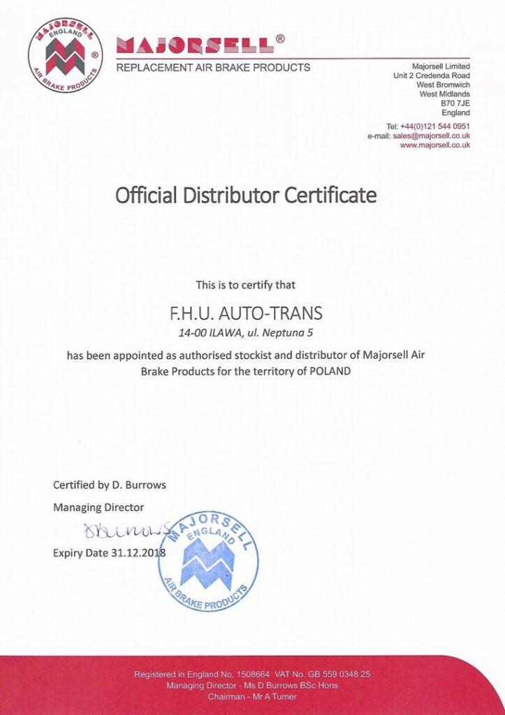 Certyfikat Majorsell England